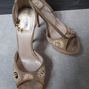 NEW CHRISTIAN DIOR STRAW DETAILED SANDALS